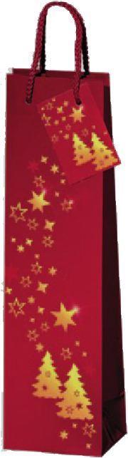 Lacktüte für eine Flasche weihnachtliches Motiv rot mit Sternen und WeihnachtsbäumenGeschenkkarton