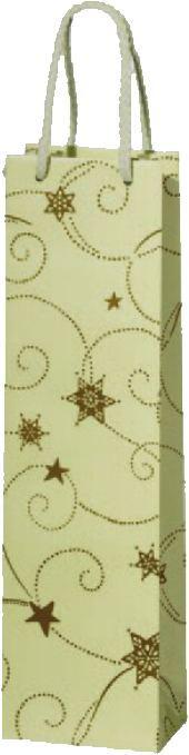 Lacktüte für ein Flasche Weihnachtliches Motiv cremefarben mit SternenGeschenkkarton