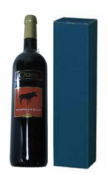 Eine Flasche spanischen Wein Gitana Tempranillo in einem blauen GeschenkkartonGeschenke