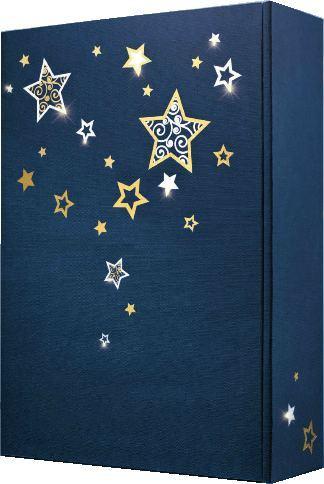 Weihnachtlicher  WK 33393 Blauer Karton mit SternenGeschenkkarton