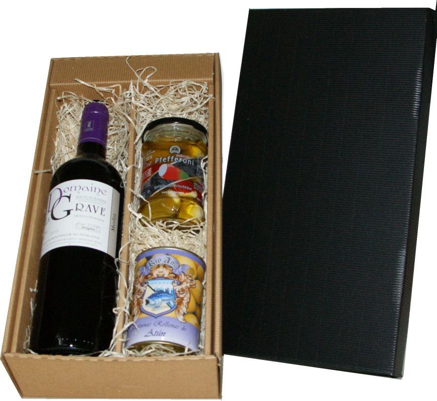 Antipasti und Wein in einem equisiten Geschenkkarton 1 x Domain La Grave 1 x scharfe Pfefferoni mit K�sef�llung 250 g 1 x Oliven mit F�llungGeschenke