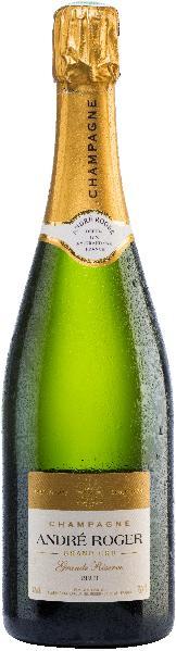 Andre RogerChampagne Grand Reserve Grand Cru Cuvee aus Pinot Noir, Chardonnay 20 % der Grundweins reift 15-16 Monate im großen HolzfassChampagne Andre Roger