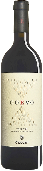 Coevo Rosso Toscano IGT Cuvee aus Sangiovese, Cabernet Sauv, Petit Verdot, Merlot 18 Monate im Holzfass gereiftItalien Toskana Coevo