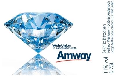 Amway Edition Jahrgangssekt halbtrocken 0,75 l mit Diamantenabbildung und Amway LogoSekt