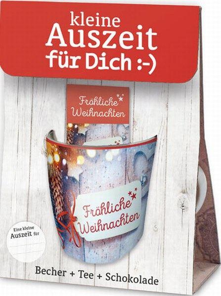 Mehr lesen zu : Becher und Schalenla vida  Eine kleine Auszeit für Dich - mit weihnachtlichem Motiv - Fröhliche Weihnachten, Geschenkset, bestehend aus einem Porzellanbecher, einem Karamell-Sahne-Rotbuschtee und einer kleinen Tafel Schokolade 40g,Delikatessen Accessoires Becher und Schalen