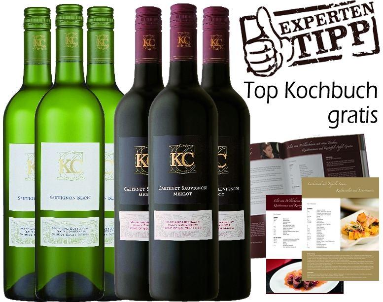 Klein Constantia eine Perle des Weinbaus in S�dafrika 3 x KC Sauvignon Blanc 3 x KC Cabernet Sauvignon - Merlot + 1 gebundenes Kochbuch gratisProbierpakete